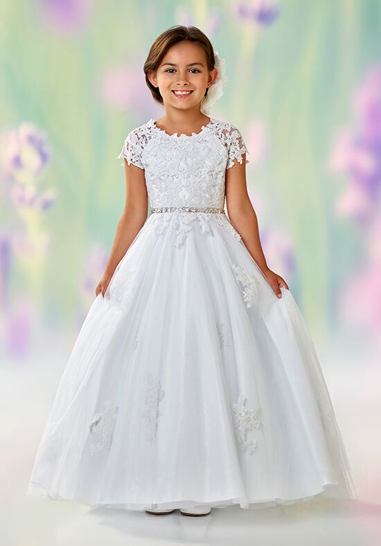 Joan Calabrese by Mon Cheri 118326 White Flower Girl Dress