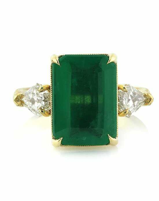 Mark Broumand 6.35ct Emerald and Diamond Three-Stone Ring Engagement Ring photo