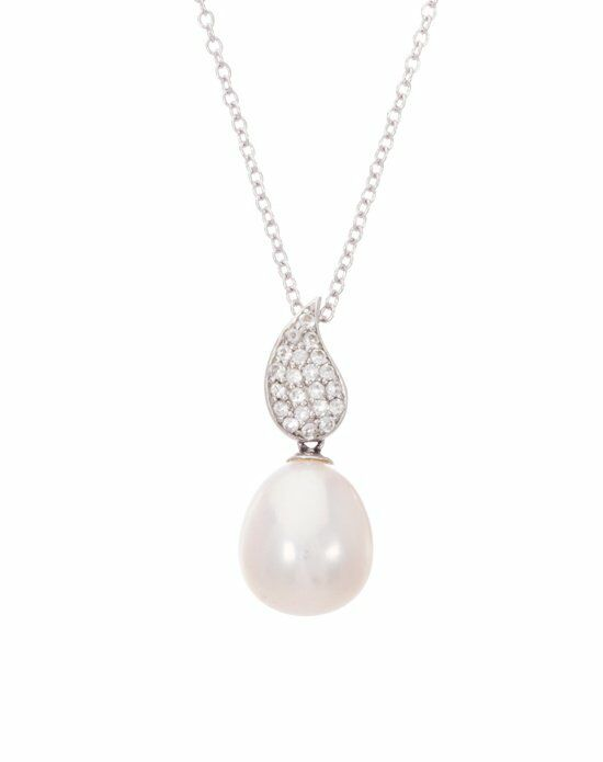 Thomas Laine Sterling Silver White Topaz Teardrop and Freshwater Pearl Necklace Wedding Necklace photo