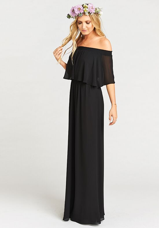 Show Me Your Mumu Hacienda Maxi Dress - Black Chiffon Off the Shoulder Bridesmaid Dress