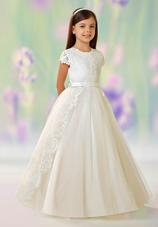 Joan Calabrese by Mon Cheri 118330 Champagne Flower Girl Dress