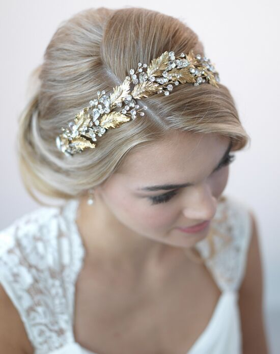 USABride Botanical Leaf & Crystal Gold Headband TI-3267-G Gold Headband