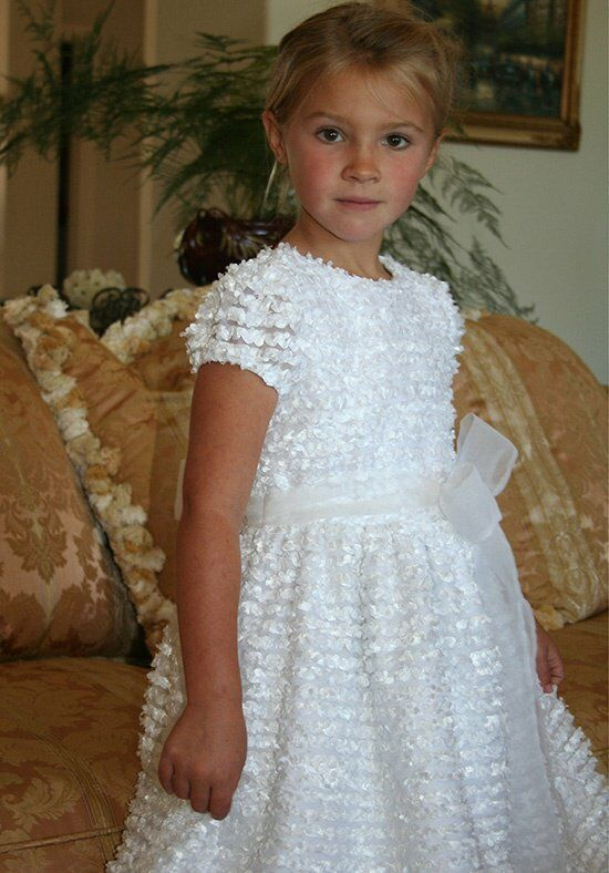 Isabel Garretón Distinct White Flower Girl Dress