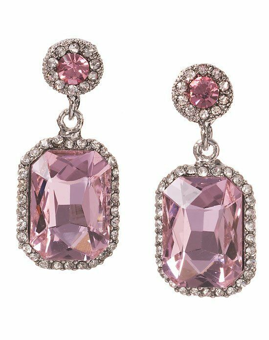 Anna Bellagio Serena Art Deco Rose Pink Drop Earrings Wedding Earring photo