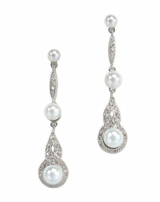 Anna Bellagio BREIL RETRO PEARL AND CUBIC ZIRCONIA BRIDAL EARRING Wedding Earring photo