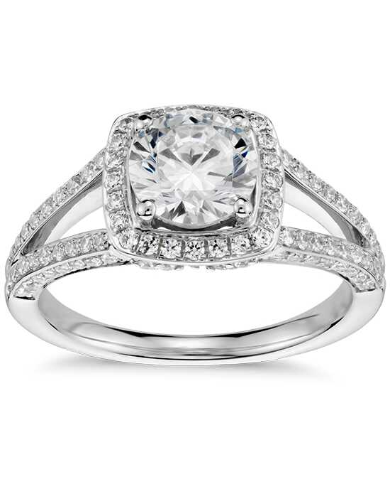 Monique Lhuillier Fine Jewelry Split Shank Halo Diamond Engagement Ring Engagement Ring photo