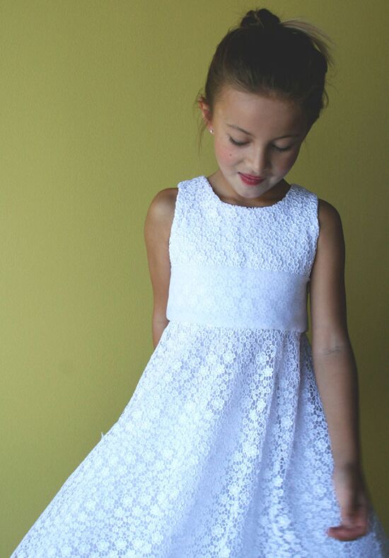 Isabel Garretón Exquisite Floral Lace Girls Dress White Flower Girl Dress