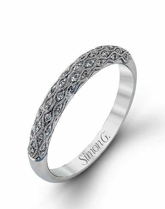 Simon G. Jewelry MR1697-D-BAND White Gold Wedding Ring