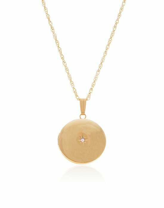 Thomas Laine Gold Round Diamond Locket Wedding Necklace photo