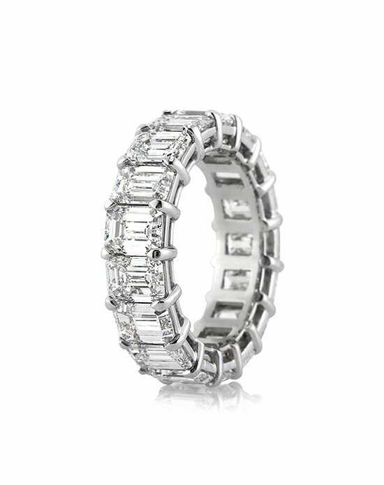 Mark Broumand 9.40ct Emerald Cut Diamond Eternity Band in Platinum Platinum Wedding Ring