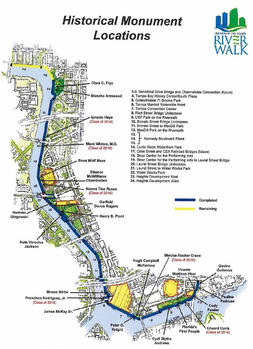 Tampa Riverwalk Stretched Along The Hillsborough River Pictured Is A Map Of Historical Places To See On