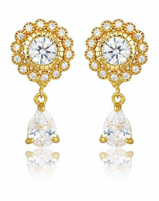 Thomas Laine Ava Petite Teardrop Earrings - Yellow Gold Wedding Earring photo