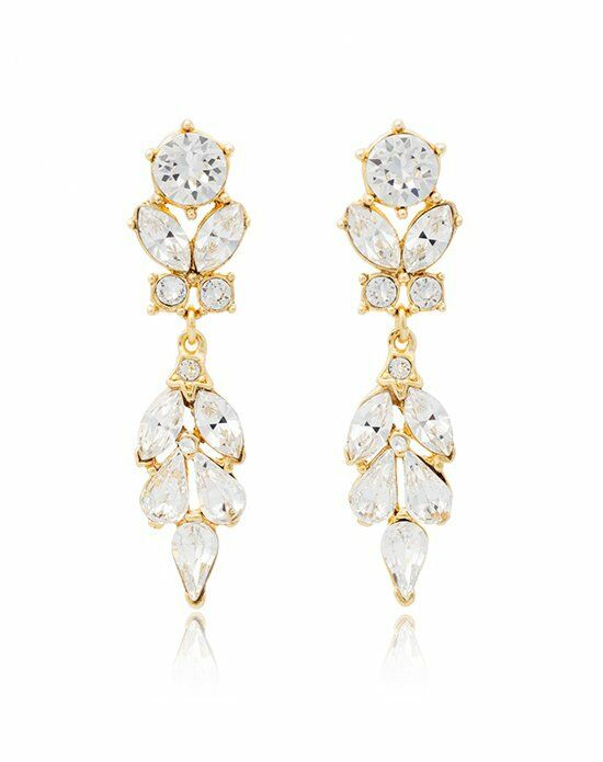 Thomas Laine Ben-Amun Bridal Gold Crystal Vine Drop Earrings Wedding Earring photo