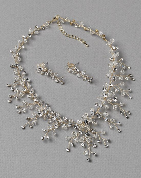 USABride Floral Cascade Gold Crystal Jewelry Set JS-1664-G Wedding Necklace photo