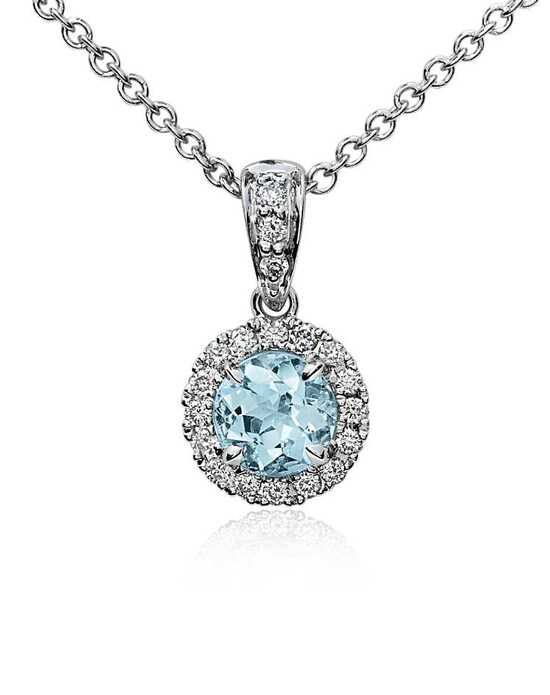 Blue nile wedding jewelry blue nile aquamarine and diamond pendant aloadofball Image collections