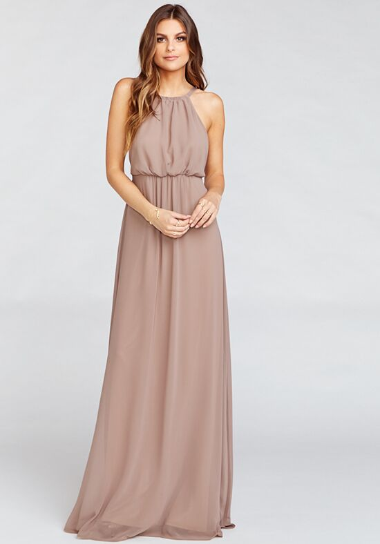Show Me Your Mumu Amanda Maxi Dress - Dune Chiffon Halter Bridesmaid Dress