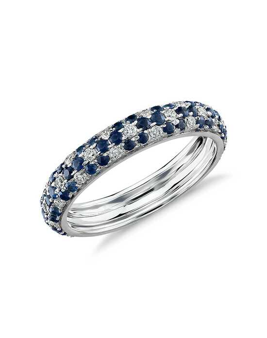Monique Lhuillier Fine Jewelry Sapphire and Diamond Pavé Floral Ring White Gold Wedding Ring