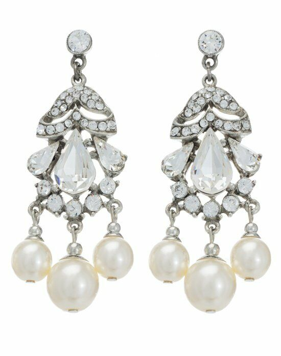Thomas Laine Ben-Amun Pearl and Crystal Olivia Earrings Wedding Earring photo