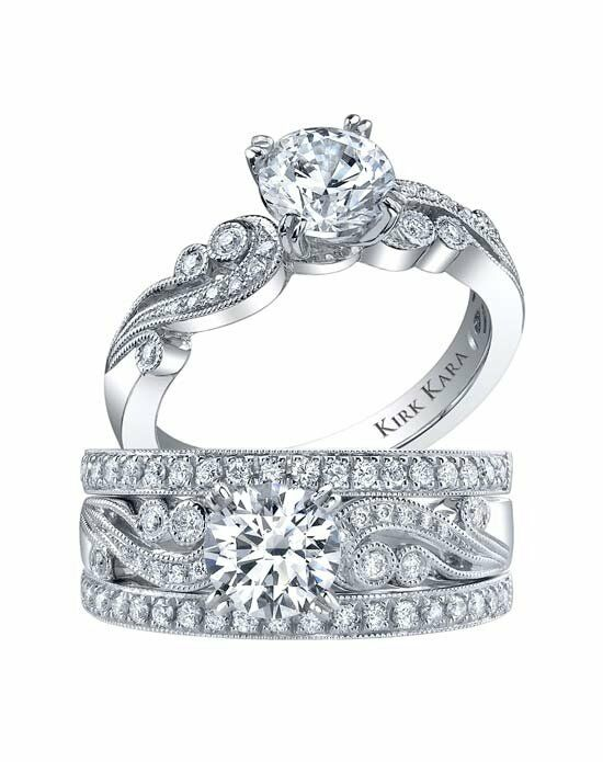 Kirk Kara Angelique Collection K1250DC-R & K1250D-B Platinum, White Gold Wedding Ring