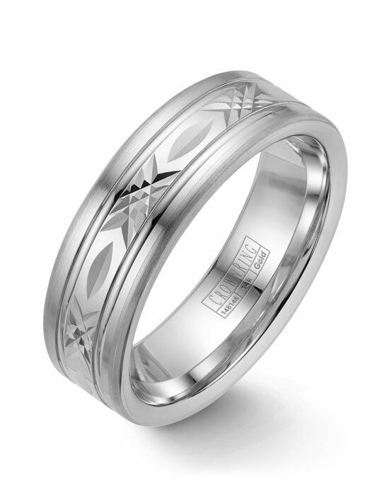 CrownRing WB-026C7W-M10 White Gold Wedding Ring