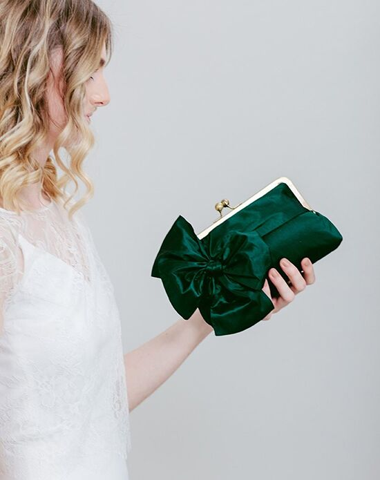 Davie & Chiyo | Clutch Collection Classic Bow Clutch: Forest Green Green Clutches + Handbag