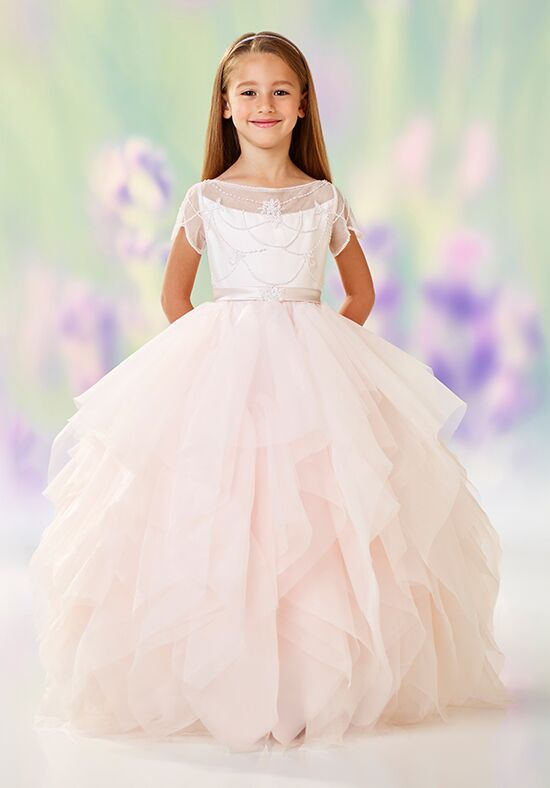 Joan Calabrese by Mon Cheri 118315 White Flower Girl Dress
