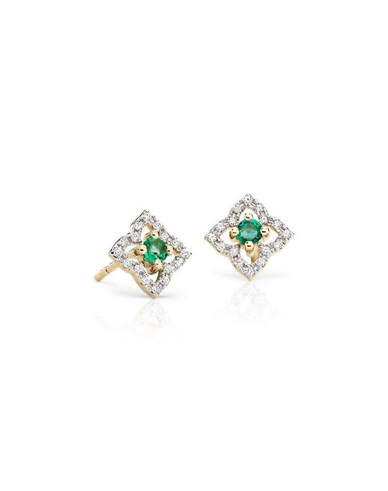 Blue Nile Petite Emerald Floral Stud Earrings Wedding Earring photo
