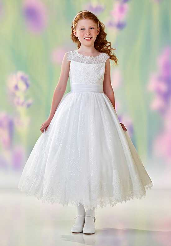 Joan Calabrese by Mon Cheri 118327 White Flower Girl Dress