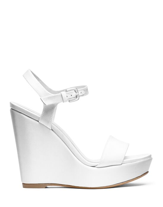 Stuart Weitzman Single Wedge White Satin White