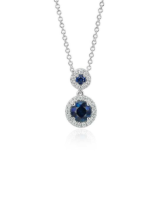 Blue Nile Isola Sapphire and Diamond Halo Pendant Wedding Necklace photo