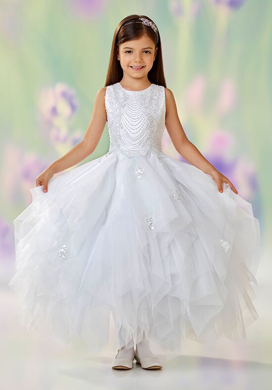 Joan Calabrese by Mon Cheri 118304 White Flower Girl Dress