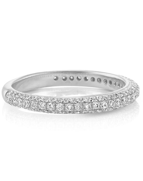 Shane Co. Diamond Wedding Band with Pavé Setting White Gold Wedding Ring