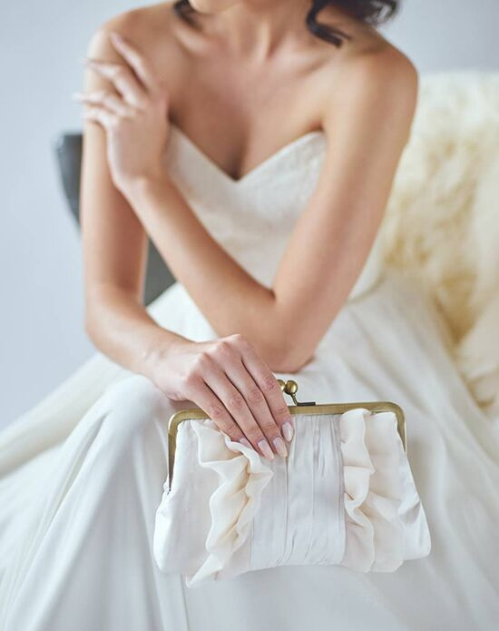 Davie & Chiyo | Clutch Collection Flutter Clutch: Ivory Ivory, Pink, Champagne Clutches + Handbag