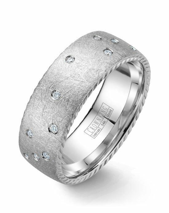 CrownRing WB-020RD8W-M10 White Gold Wedding Ring