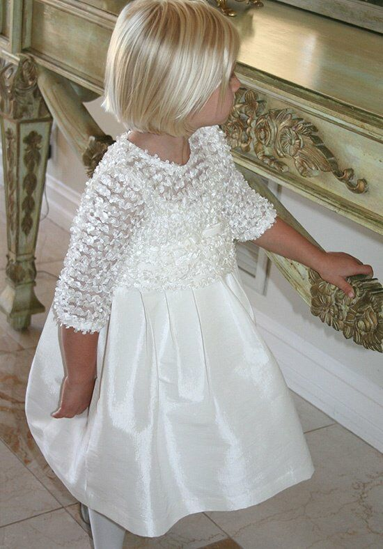 Isabel Garretón 3/4 Sleeve Flutter Ivory Flower Girl Dress