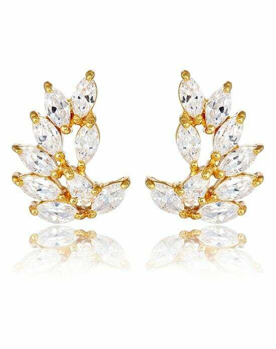 Thomas Laine Rita Marquise Cluster Earrings - Yellow Gold Wedding Earring photo
