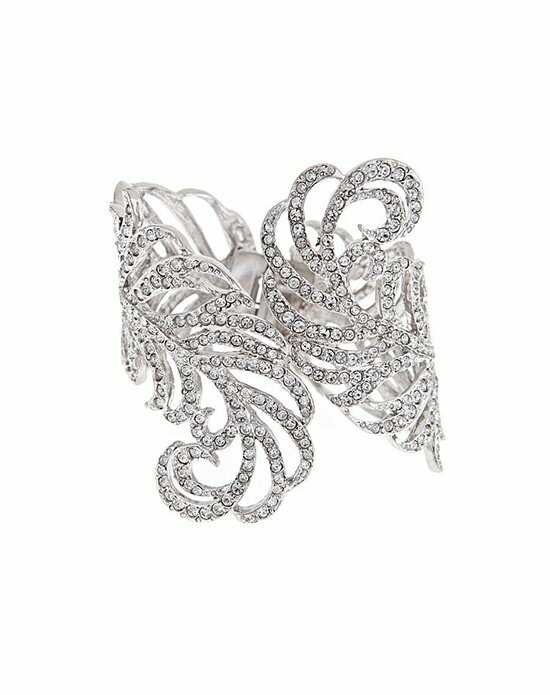 Thomas Laine Crystal Feather Cuff Wedding Bracelet photo