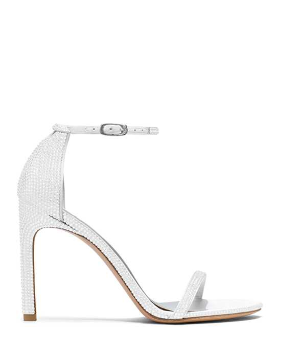 Stuart Weitzman Nudistsong Chalk White Pave Crystals White