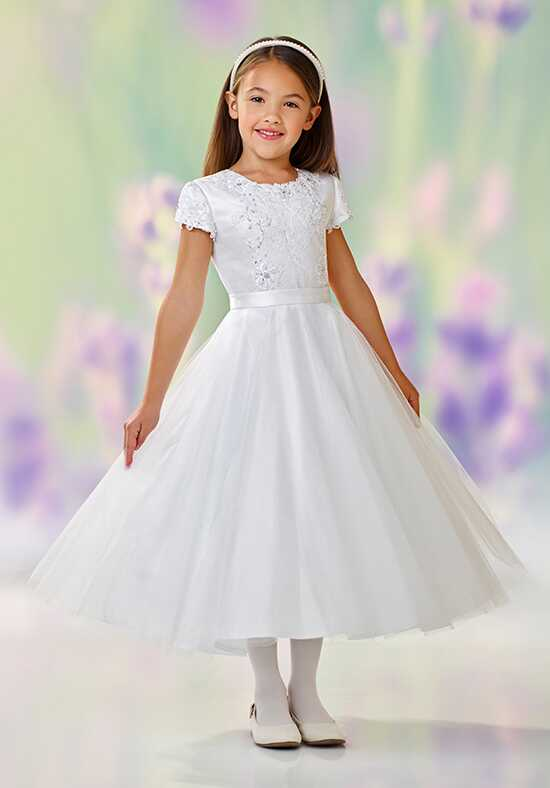Joan Calabrese by Mon Cheri 118333 White Flower Girl Dress