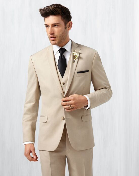 Men's Wearhouse Notch Lapel Tan Suit Brown, Champagne Tuxedo