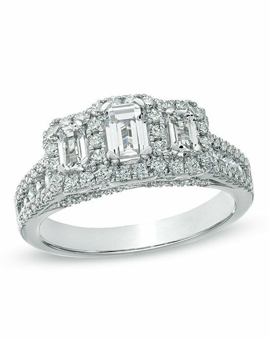 zales 1 12 ct tw certified emerald cut diamond three stone - Wedding Rings At Zales