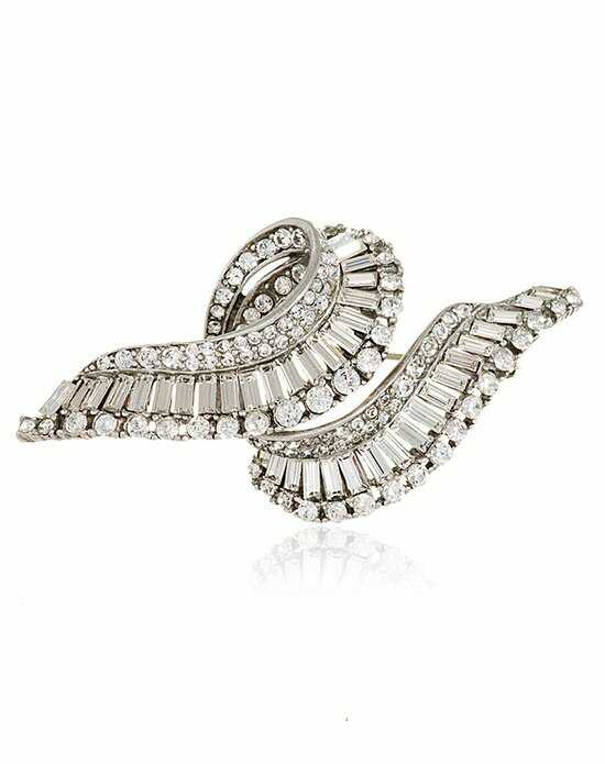 Thomas Laine Crystal Swirl Baguette Pin Silver