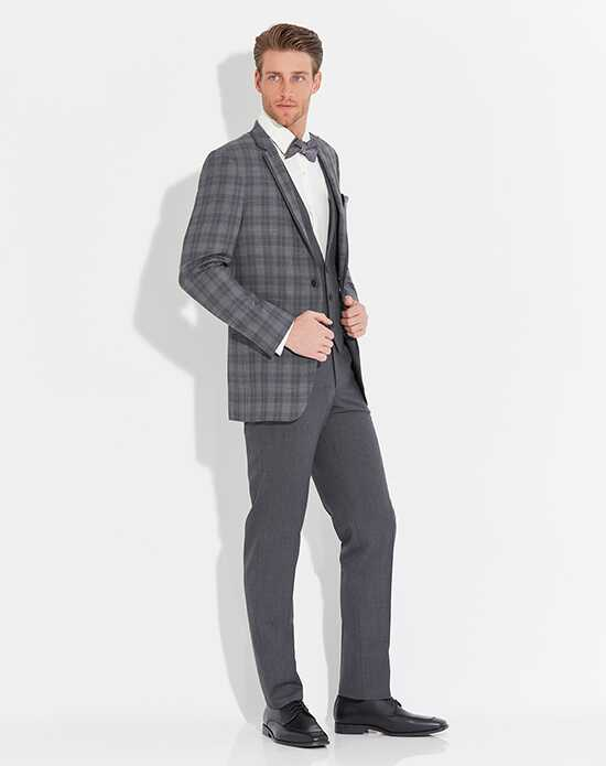 Allure Men Plaid Sterling Gray Tuxedo