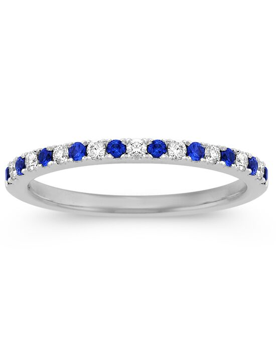 Shane Co. Classic Sapphire and Diamond Wedding Band White Gold Wedding Ring