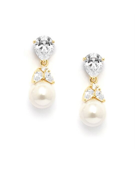 USABride Delicate Pearl Drop CZ Gold Earrings JE-4050-G Wedding Earring photo