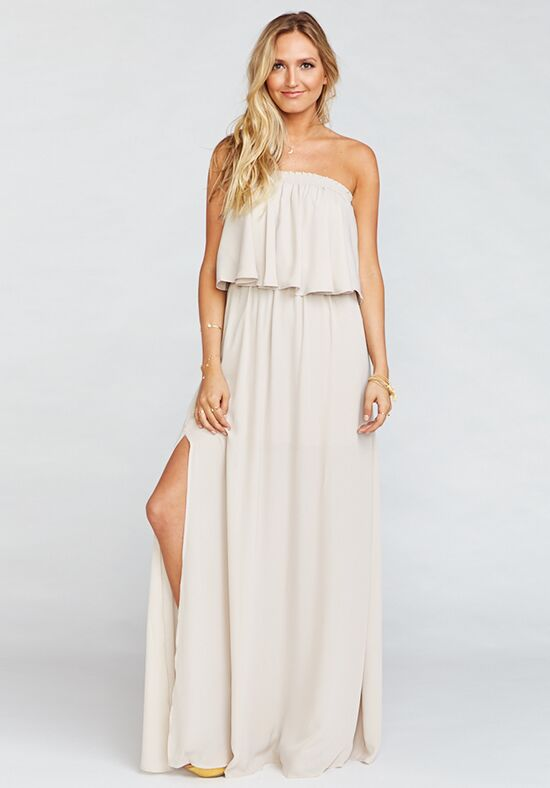 Show Me Your Mumu Hacienda Maxi Dress - Show Me the Ring Crisp Off the Shoulder Bridesmaid Dress