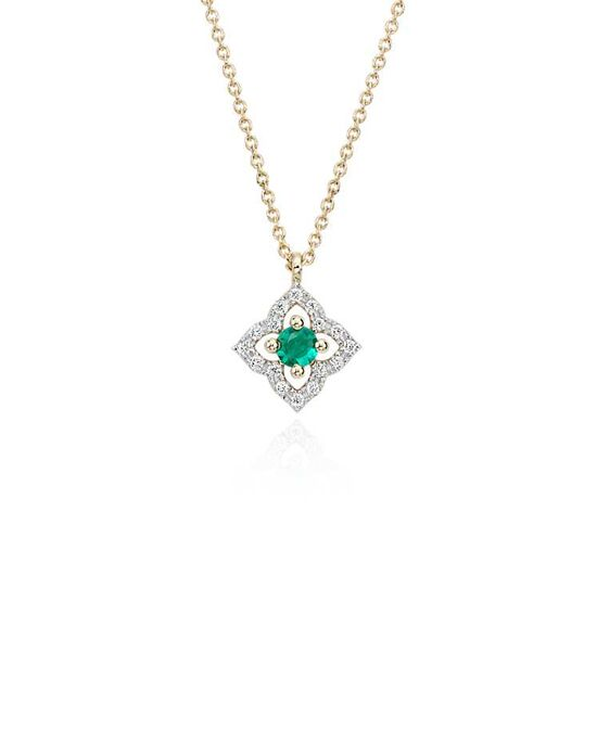 Blue Nile Petite Emerald Floral Pendant Wedding Necklace photo