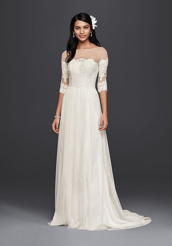David 39 s bridal galina style wg3827 wedding dress the knot for Simple cream colored wedding dresses