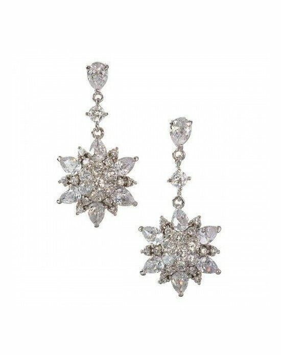 Anna Bellagio ZAHRA CUBIC ZIRCONIA FLOWER DRAMATIC DROP EARRING Wedding Earrings photo