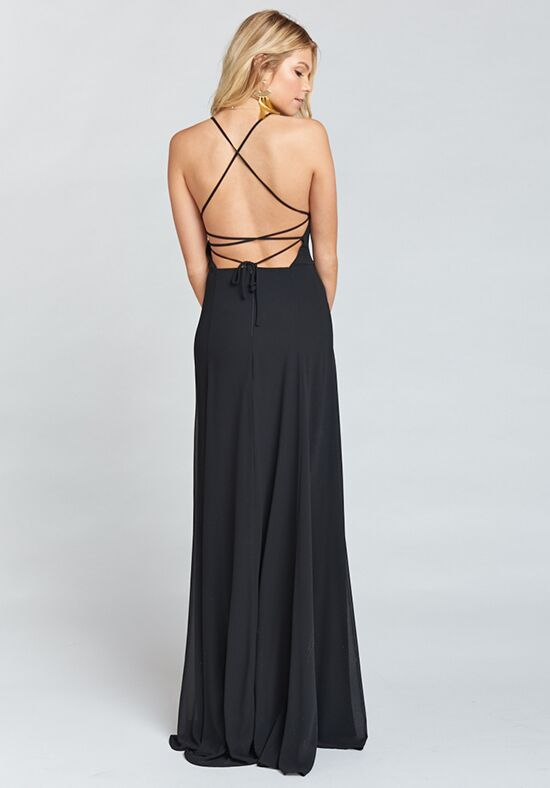 Show Me Your Mumu Godshaw Goddess Gown - Black Chiffon Scoop Bridesmaid Dress